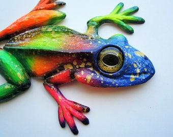 Frog sculpture,art object,home wall decor,frog figurine