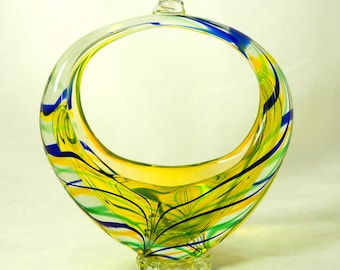 Vintage Murano Basket Vase, Mid-Century Sommerso Large Handblown Yellow Green Blue Art Glass Bride Candy Basket Knotted Handle