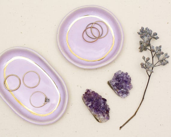 lavender and gold ring dish / trinket dish