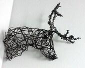 Unique Wire Deer Sculpture - DEER HEAD VIII