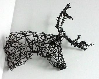 Unique Wire Deer Sculpture - DEER HEAD VIII