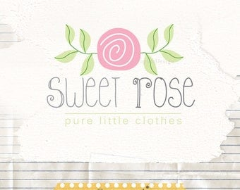 Flower logo, logo template, premade logo design, rose logo, drawn flower premade logo design, photographer logos, baby boutique logos