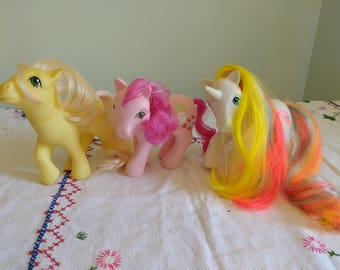 Vintage My Little Pony 1980s G1 Bouquet Rainbow Unicorn Posey and Sweet Strawberry Surprise