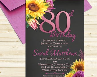 Watercolor Floral Sunflower 80th Birthday Chalkboard Invitation Any Age Adult  Printable Invite