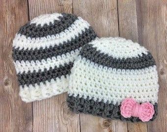Newborn Twin Baby Hats, Boy Girl Beanies, Baby Boy Hat, Baby Photo Prop, Twin Crochet Hats, Twin Baby Hats, Ready to Ship