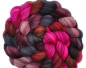 Hand dyed roving - Merino Humbug wool combed top spinning fiber - 4.0 ounces - Explosive Passion 1
