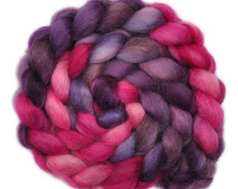Hand painted spinning fiber - Wensleydale wool combed top roving - 4.1 ounces - All The Rage