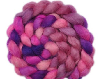Hand painted spinning fiber - Wensleydale wool combed top roving - 4.1 ounces - Ophelia