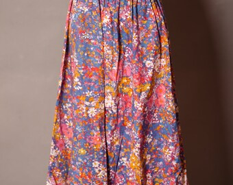 Womens Vintage Colorful Floral  Long Skirt
