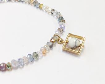Elastic Beaded Bracelet, Beaded Bracelet, Friendship Bracelet, Stacking Bracelet, Seed Beads Bracelet, Gift, Present, Geometric charm