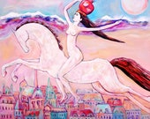 Original oil painting on canvas white horse girl with pomegranate bright positive art home decoration