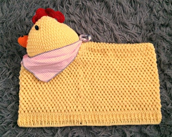 Yellow Country Chicken Crochet Pillow Cover