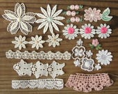 Teeny Tiny Vintage Applique Pack Fabric Flowers & Trims for Small Projects Neutral Pink Collection