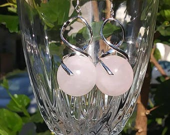 Rose Quartz in Silver Twirl earrings
