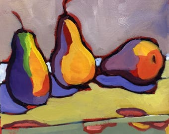 A Pear Trilogy  Abstract Still Life Oil Painting on Canvas