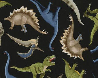 Dinosaurs Allover on Black from Timeless Treasures