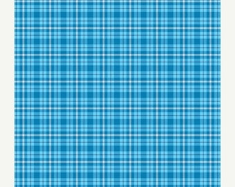 """SUMMER SALE END Of Bolt - 1 Yard 10"""" (46"""" X 44"""") - Blue Plaid from Andover Fabric's Modern Plaids Collection"""