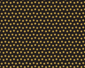 """SALE End of Bolt- 28""""x44"""" Twilight Gold Stars on Black from Blend Fabric's Boo Crew Collection by Maude Asbury"""