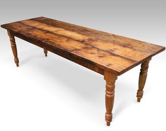 """5 Foot (60"""") Rustic Pine Farm Table with Turned Legs"""