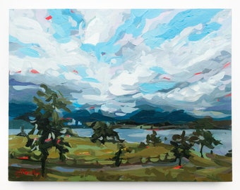 """Original Painting of Vancouver // North Shore Clouds no. 3 // 18"""" x 14"""" // Original Acrylic Painting on Canvas"""