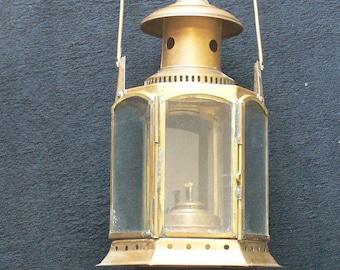 Brass ship lantern  glass.