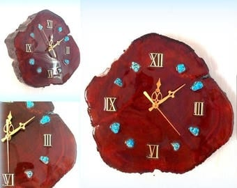 CIJ SALE Glossy Tree Trunk Wall Clock - Turquoise Stone Accents - Battery Operated