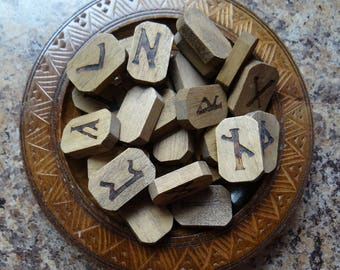 DELUXE WOOD Rune Set #2 Divination or Jewelry Making Crafts