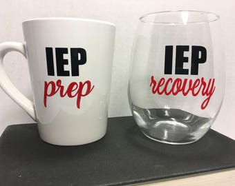 IEP Prep IEP Recovery Coffee / Wine Gift Set. Gift for Special needs Parents. Gift for Special needs Teacher. IEP Gift.