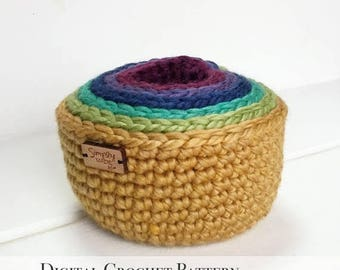 ON SALE PDF Crochet Pattern / Diy Crochet Pattern / Crochet Nesting Bowl Pattern / Storage Bowl Pattern / Stacking Bowl Pattern / Rainbow Bo