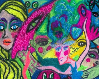 Alice in Monsterland original oil pastel drawing