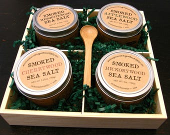 The COMPLETE SMOKED SALT Collection - Apple, Mesquite, Cherry, Hickory - Culinary and Barbecue Heaven!