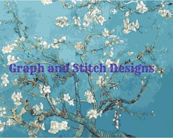 Van Gogh - Branches with Almond Blossom - cross stitch chart only