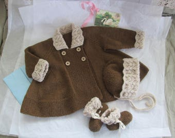 Hand Knit Baby Girl Sweater Set Bonnet Booties 3M 6M Matinee Set  Ready to Ship