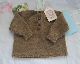 Hand Knit Baby Sweater Pullover 6M 9M Baby Boy Luxury Merino Wool Ready to Ship