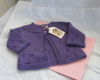 Hand Knit Baby Girl Sweater Ready to Ship  12M Merino Wool Vintage Style
