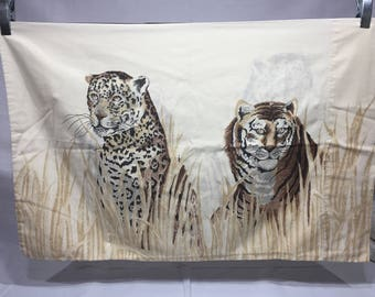 Vintage, tiger and leopard pillowcase,  Africa, animals, landscape, earth tones, brown, tan, JP Stevens Co.