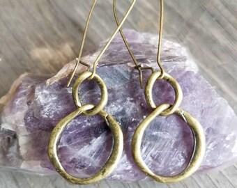 Hoop Earrings Simple Earrings Minimalist Brass Earrings New Mexico Arizona Boho Southwestern Cowgirl Long Earrings Rustic Gypsy Earrings