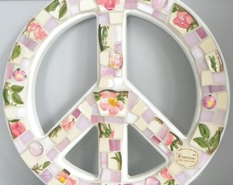Stained Glass Mosaic PEACE SIGN - Vintage Desert Rose China and Stained Glass