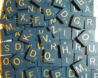 BLUE with GOLD Letters - Recycled Wood Scrabble Tiles - Random Picked for Jewelry, Altered Art, Collage, Scrapbooking or Mosaics