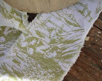 French Farmhouse Sage and White Toile Frayed Edge Ribbon