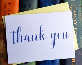 Calligraphy Thank You Card with Matching Yellow Envelope