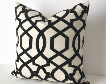 Black and off white velvet decorative pillow, trellis throw pillow