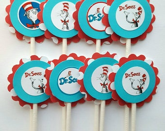 Dr. Seuss Inspired Cupcake Toppers - Turquoise Blue & Red - Qty: 12 - Dr. Seuss Birthday Party