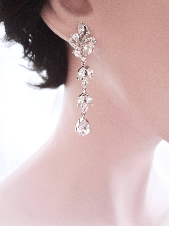 Cubic zirconia earrings, Long, marquise cut earrings, Brides ...