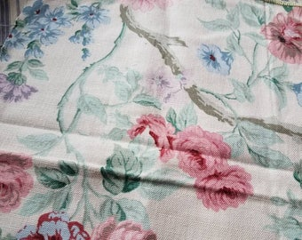 Retro Floral Fabric Remnants - Vintage Cabbage Rose Fabric, Jacobean Fabric Scrap, Two Vintage Scraps of Material, Seamstress Fabric Scraps