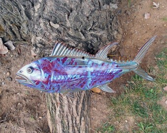 Large Vintage Handmade Pottery Fish Wall Hanging Blues and Greens Stunning