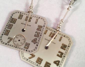 Antique Sterling Watch Dial Earrings