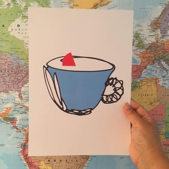 there is something in your tea A4 wall art print . Home decor . Gift