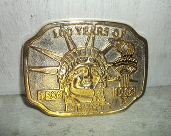 Statue of Liberty 1886 - 1989 100 Years Anniversary Gold Belt Buckle