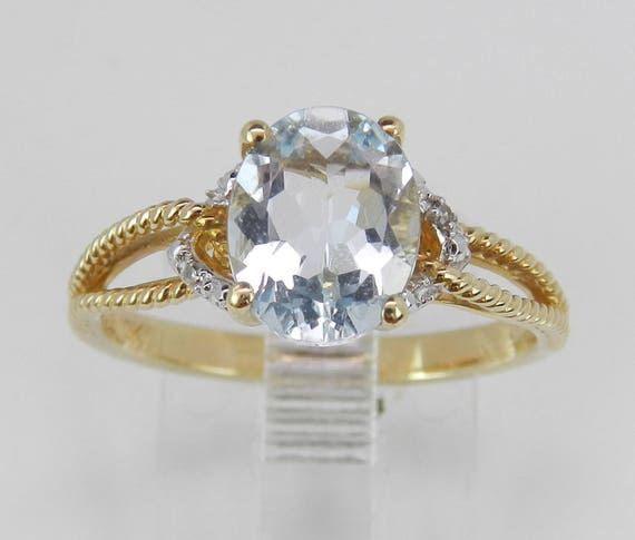 Diamond and Aquamarine Engagement Promise Ring Yellow Gold Aqua Size 7 March Gem